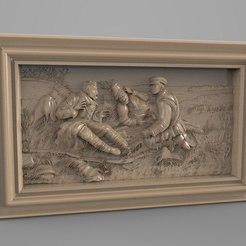 Free 3D printer files russian hunting scene cnc, 3DPrinterFiles