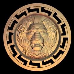 Descargar modelos 3D gratis león feroz circular, 3DPrinterFiles