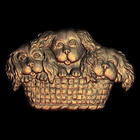 Free STL 3 cute baby dogs in a basket, 3DPrinterFiles