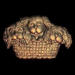 Descargar archivos STL gratis 3 lindos perritos en una canasta, 3DPrinterFiles