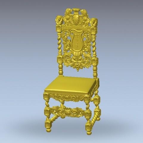 Free 3D printer designs renaissance vintage old chair art, 3DPrinterFiles