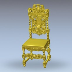 Download free STL renaissance vintage old chair art, 3DPrinterFiles