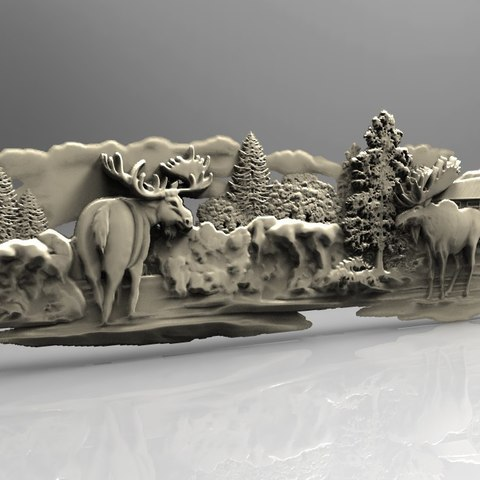 Free STL Moose in front of a cabin snow art cnc router, 3DPrinterFiles