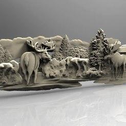 Impresiones 3D gratis Alce frente a una cabina de nieve arte cnc router, 3DPrinterFiles