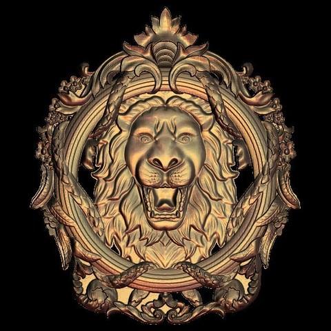 lion circular frame