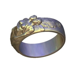 Download free STL Man and woman naked breast ring, 3DPrinterFiles