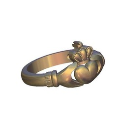 Download free 3D printing designs heart crown ring, 3DPrinterFiles