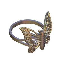 Free STL Butterfly ring, 3DPrinterFiles