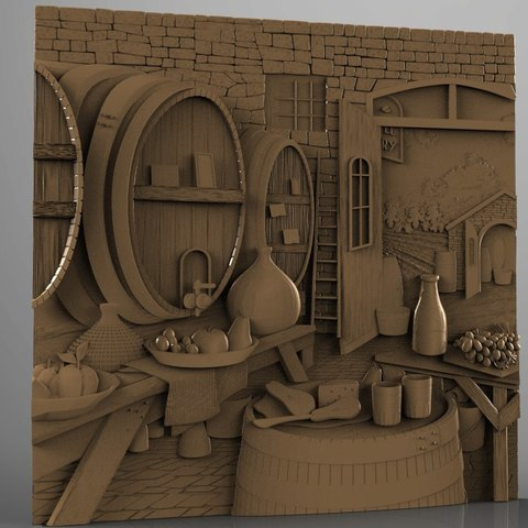 Download free STL files cave basement wine red cnc art barrel , 3DPrinterFiles