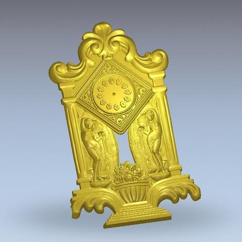 Free 3D printer designs clock renaissance decoration art, 3DPrinterFiles