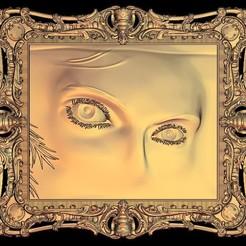 Télécharger objet 3D gratuit intense look girl woman frame art wall, 3DPrinterFiles