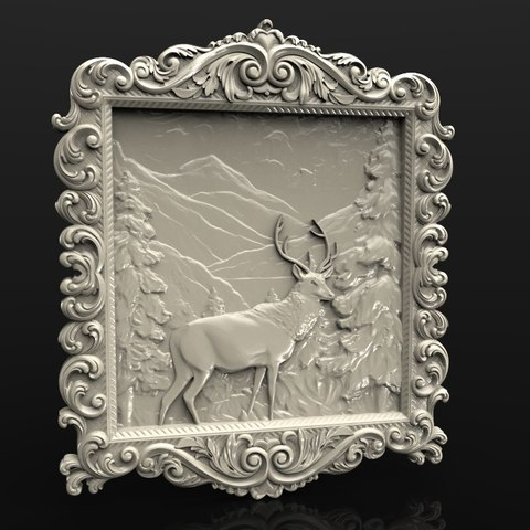 Free 3D printer model deer in the forrest cnc router, 3DPrinterFiles