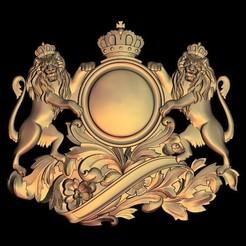 Free STL files king lion crown blason, 3DPrinterFiles