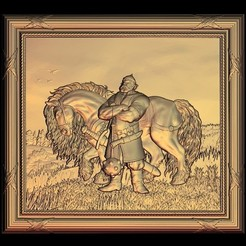 Free STL file warrior soldier viking with horse, 3DPrinterFiles