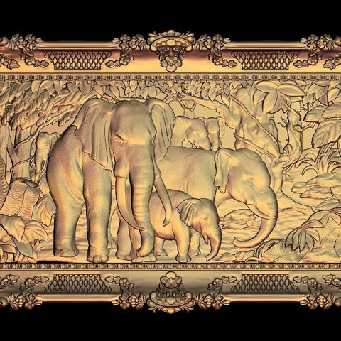 Download free STL elephant family cnc router art, 3DPrinterFiles