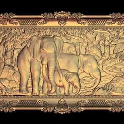Free 3D printer designs elephant family cnc router art, 3DPrinterFiles