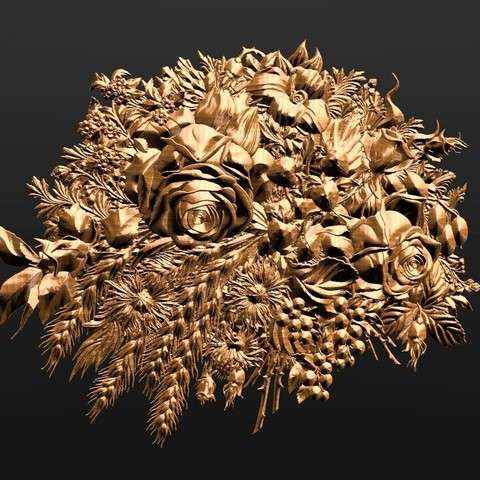 Download free STL files flowers art modern frame decoration cnc, 3DPrinterFiles
