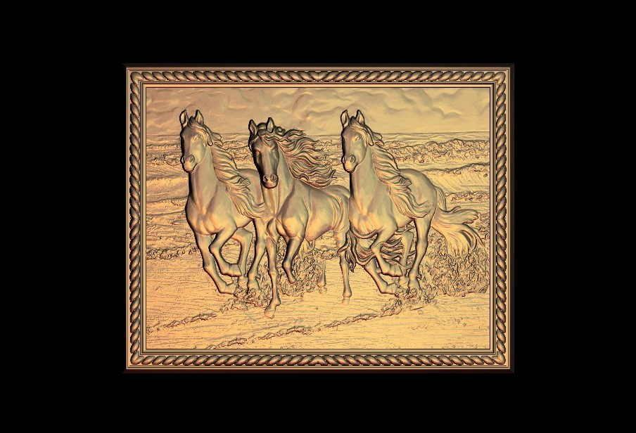 222.jpg Download free STL file 3 horses running on the beach frame • 3D printer object, 3DPrinterFiles