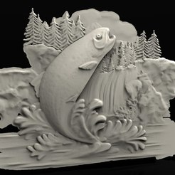 upetakis.jpg Download free STL file fish in a lake jumping river cnc router • 3D print template, 3DPrinterFiles