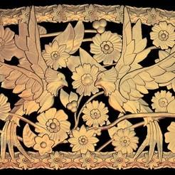 Télécharger objet 3D gratuit cadre deux oiseaux et fleurs, 3DPrinterFiles