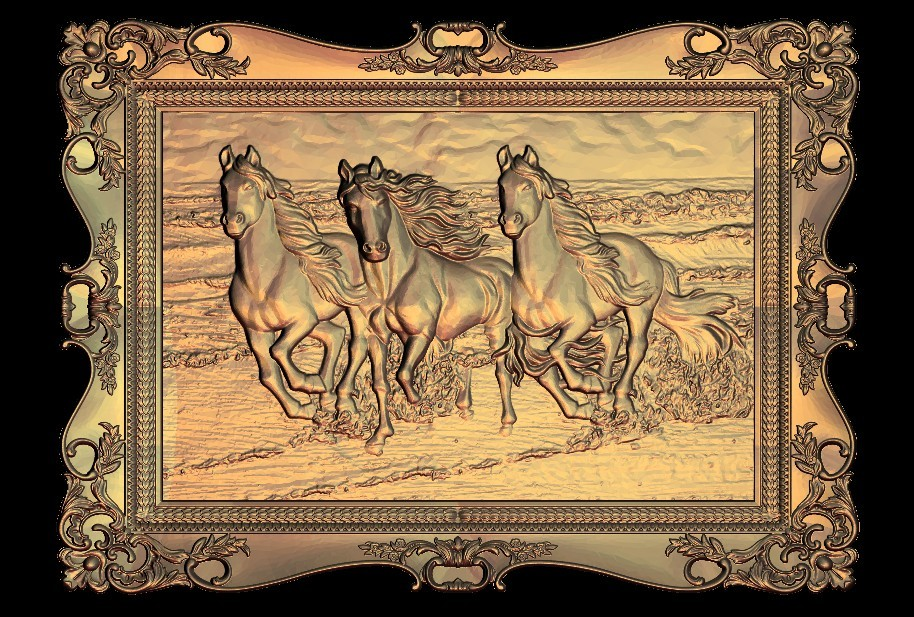 31.jpg Download free STL file 3 horses running on the beach frame • 3D printer object, 3DPrinterFiles