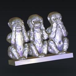 Télécharger fichier imprimante 3D gratuit 3 singes oeil oeil entendre bouche, 3DPrinterFiles