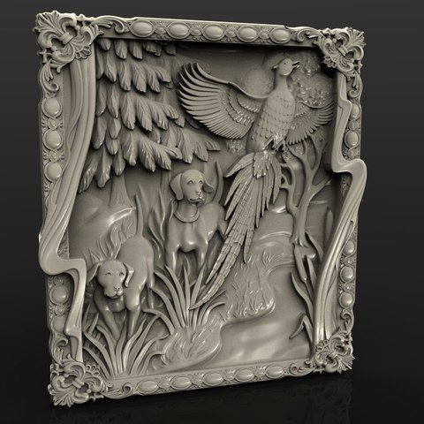 Free STL files pheasant cnc router two dogs hunting scene, 3DPrinterFiles