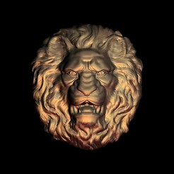 Free 3D printer designs fierce lion face, 3DPrinterFiles