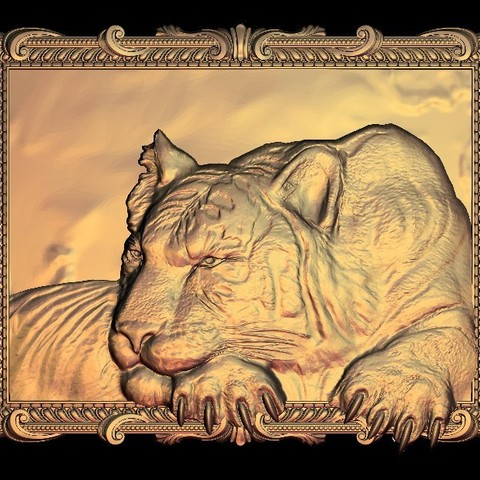 Download free 3D printer designs Calm tiger frame, 3DPrinterFiles