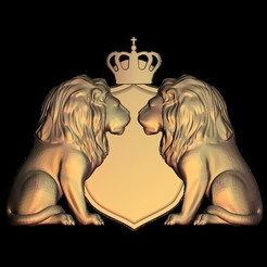 Download free 3D printer designs two lions crown king, 3DPrinterFiles