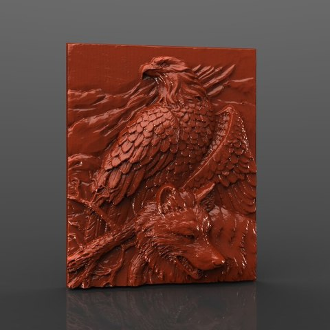 Download free 3D model eagle and wolf cnc router, 3DPrinterFiles