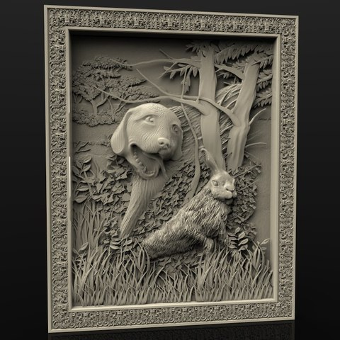 Download free 3D printing templates dog and hare rabbit cnc frame, 3DPrinterFiles
