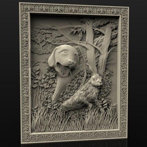 Descargar Modelos 3D para imprimir gratis perro y liebre conejo cnc marco, 3DPrinterFiles
