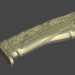Download free 3D printer designs knife dague saber handle wolf river nature, 3DPrinterFiles
