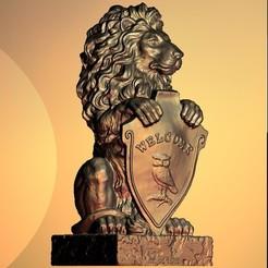 Free 3D printer model Welcome lion blason bust sculpture, 3DPrinterFiles