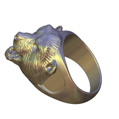 Free 3D printer model agressive bear face ring, 3DPrinterFiles