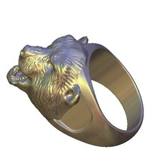 Download free 3D printing templates agressive bear face ring, 3DPrinterFiles