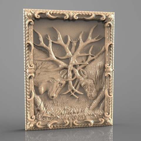 Free 3D printer designs fighting deers cnc art router, 3DPrinterFiles