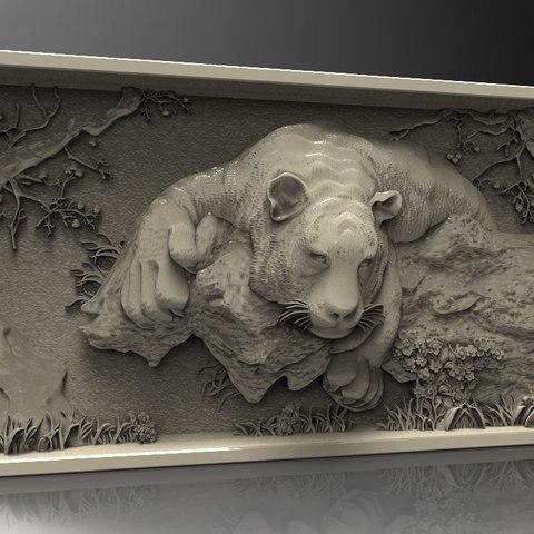 Descargar archivos 3D gratis tigre impresionante en un árbol cnc router, 3DPrinterFiles