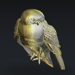 Download free 3D printer model Owl sitting on a branch, 3DPrinterFiles