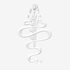 Download free 3D printer designs art with a rose like a nice tatoo, 3DPrinterFiles