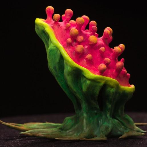 "Download free 3D printing templates Tabletop plant: ""Tearing Plant"" (Alien Vegetation 14), GrimGreeble"