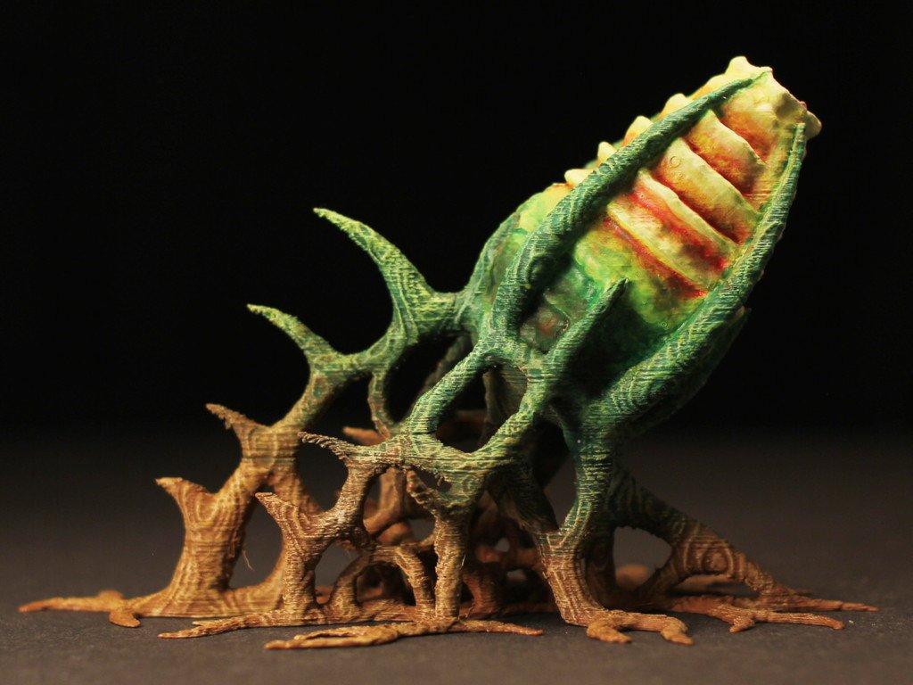"68b9c1efe4eb8aeaae76b64318373e29_display_large.jpg Download free STL file Tabletop plant: ""Cannon-Plant"" (Alien Vegetation 09) • 3D printable object, GrimGreeble"