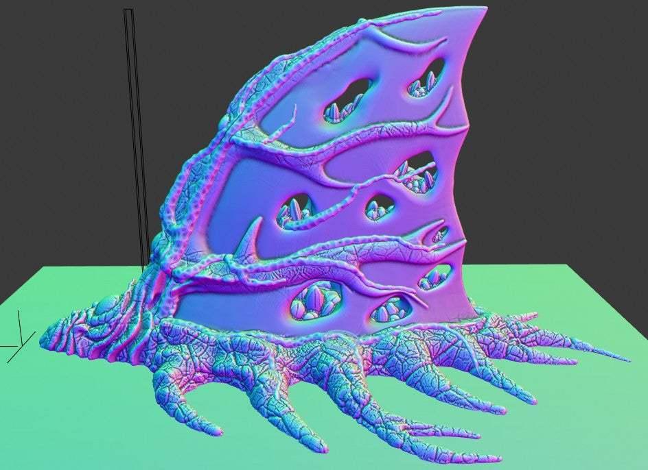"""preview01.jpg Download free STL file Tabletop plant: """"Shark Plant"""" (Alien Vegetation 23) • 3D printer model, GrimGreeble"""