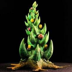 "xmas01.jpg Download free STL file Tabletop plant: ""Orkish Xmas-Tree"" (Alien Vegetation 29) • Design to 3D print, GrimGreeble"