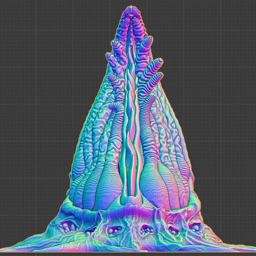 """blender_front.png Download free STL file Tabletop plant: """"Tentacular"""" (Alien Vegetation 19) • 3D printer model, GrimGreeble"""