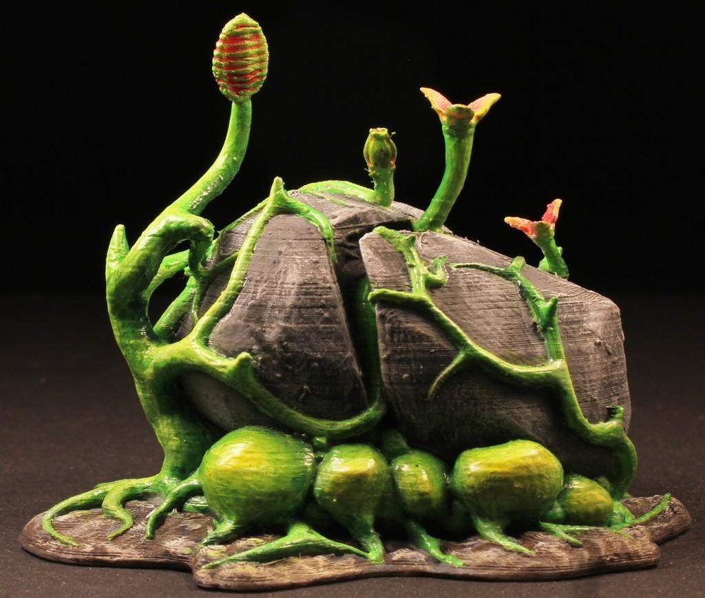 """7ff5bef417c3120ae29962e5a096230f_display_large.jpg Download free STL file Tabletop plant: Alien Vegetation 02 """"RockBreaker"""" • 3D printable design, GrimGreeble"""