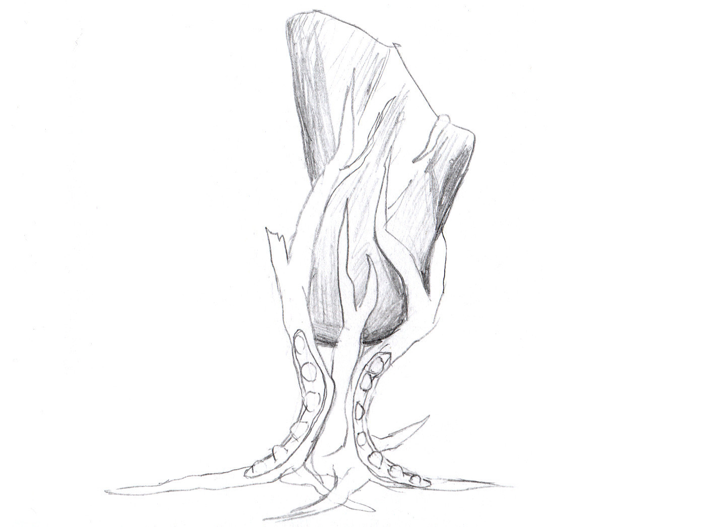 "scribble.jpg Download free STL file Tabletop plant: ""Rock Claw 1"" (Alien Vegetation 18) • 3D print model, GrimGreeble"