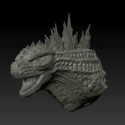 13.JPG Download free STL file Godzilla bust • 3D print model, poblocki1982