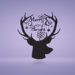 c1.png Download STL file wall decor reindeer • 3D printing design, satis3d